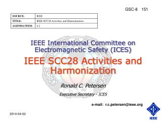 IEEE International Committee on Electromagnetic Safety ICES  IEEE SCC28 Activities and Harmonization