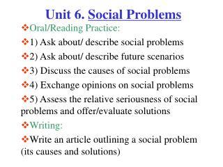 Unit 6.  Social Problems