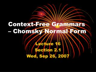 Context-Free Grammars – Chomsky Normal Form