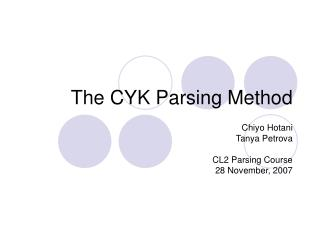 The CYK Parsing Method