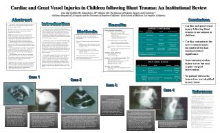 Cardiac and Great Vessel Injuries in Children following Blunt Trauma: An Institutional Review