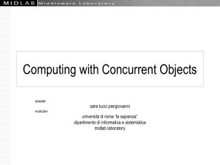 Computing with Concurrent Objects