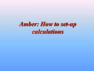 Amber: How to set-up calculations
