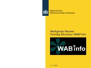 Werkgroep Nieuwe  Overleg Structuur WAB*info