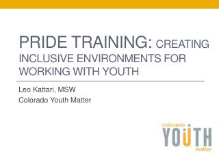 PRIDE TRAINING:  Creating inclusive environments for working with youth