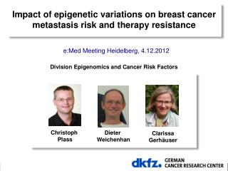 Impact of epigenetic variations on breast cancer metastasis risk and therapy resistance