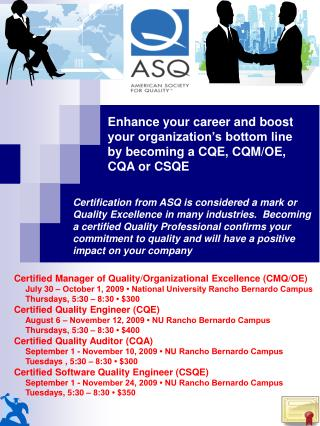 Certified Manager of Quality/Organizational Excellence (CMQ/OE)