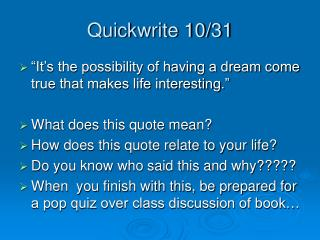 Quickwrite 10/31