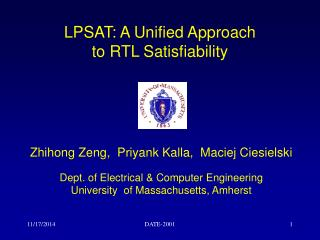LPSAT: A Unified Approach  to RTL Satisfiability