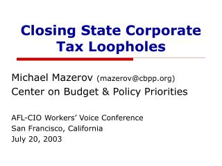 Closing State Corporate Tax Loopholes