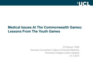 Medical Issues At The Commonwealth Games: Lessons From The Youth Games