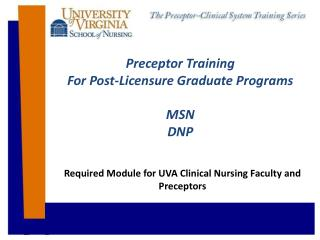 Preceptor Training For Post-Licensure Graduate Programs MSN DNP