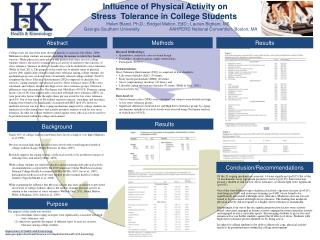 Influence of Physical Activity on  Stress  Tolerance in College Students