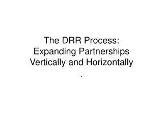 The DRR Process: Expanding Partnerships  Vertically and Horizontally