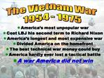 America s most unpopular war Cost LBJ his second term to Richard Nixon America s longest and most expensive war Divided