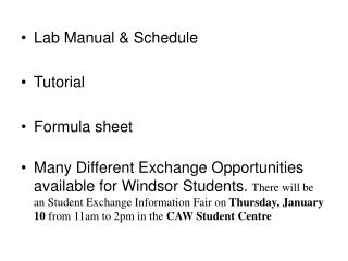 Lab Manual & Schedule Tutorial Formula sheet