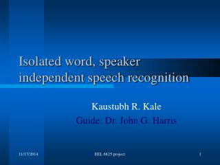Isolated word, speaker independent speech recognition
