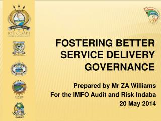 Fostering Better Service  Delivery  Governance