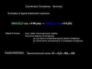 Coordination Complexes - Summary