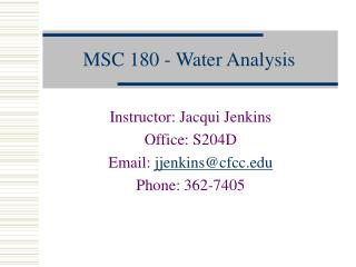 MSC 180 - Water Analysis