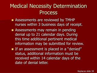 Medical Necessity Determination Process