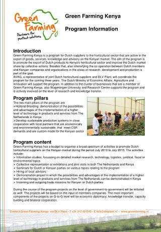 Green Farming Kenya Program Information