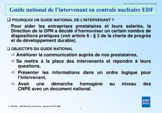 Guide national de l intervenant en centrale nucl aire EDF