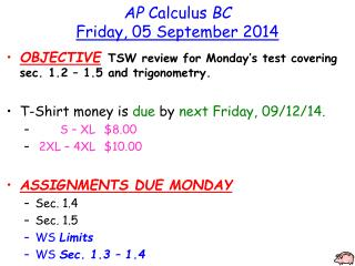 AP  Calculus  BC Friday, 05 September 2014