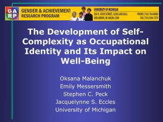 The Development of Self-Complexity as Occupational Identity and Its Impact on Well-Being