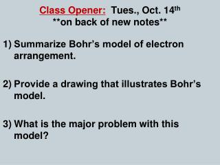 Class Opener: Tues., Oct. 14 th **on back of new notes**