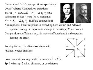 Gause ' s and Park ' s competition experiments Lotka-Volterra Competition equations