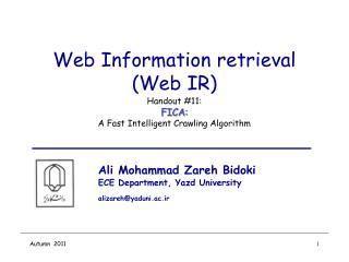 Web Information retrieval (Web IR)