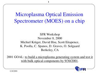 Microplasma Optical Emission Spectrometer (MOES) on a chip