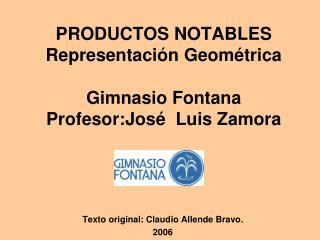 PRODUCTOS NOTABLES Representaci n Geom trica  Gimnasio Fontana Profesor:Jos   Luis Zamora