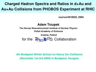 Charged Hadron Spectra and Ratios in d+Au and Au+Au Collisions from PHOBOS Experiment at RHIC