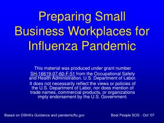 Preparing Small Business Workplaces for Influenza Pandemic