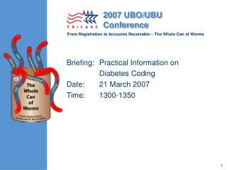 Briefing: 	Practical Information on  	Diabetes Coding Date:  	21 March 2007 Time:  	1300-1350