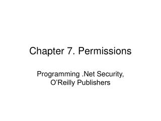 Chapter 7. Permissions