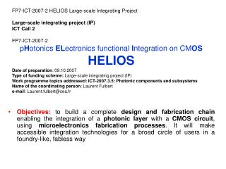 FP7-ICT-2007-2 HELIOS Large-scale Integrating Project Large-scale integrating project (IP)