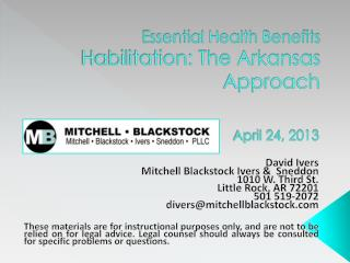 Essential Health Benefits Habilitation: The Arkansas Approach