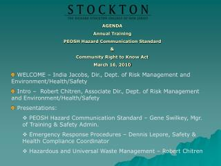 AGENDA Annual Training PEOSH Hazard Communication Standard & Community Right to Know Act