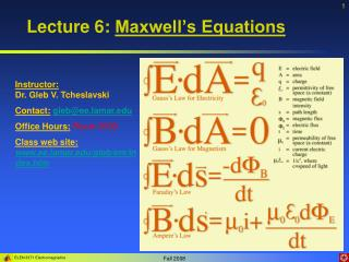 Lecture 6:  Maxwell�s Equations
