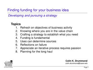 Finding funding for your business idea