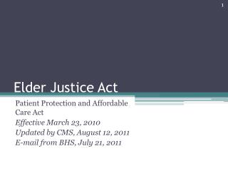 Elder Justice Act