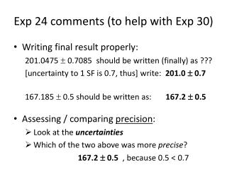 Exp 24 comments (to help with Exp 30)