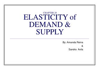 CHAPTER 20 ELASTICITY of DEMAND & SUPPLY