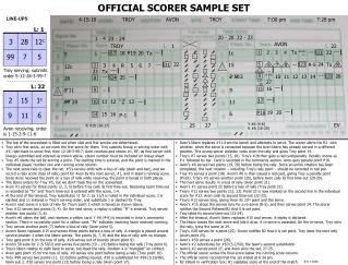 OFFICIAL SCORER SAMPLE SET