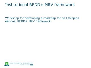 Institutional REDD+ MRV framework