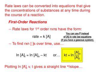 ln [A] t  = ln [A] o  – kt