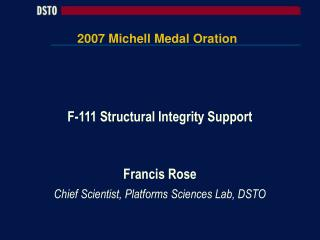 2007 Michell Medal Oration